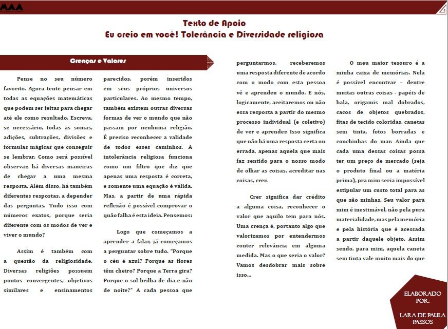 Texto de Apoio - Diversidade Religiosa